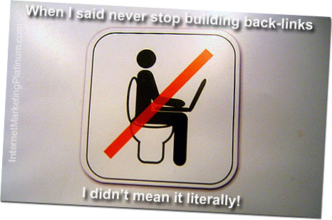 Building backlinks on the loo